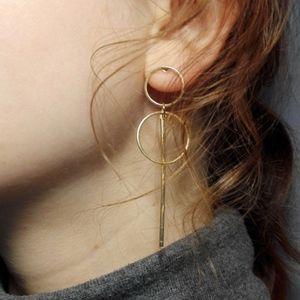 Minimalist Bar Double Hoop Statement Earrings